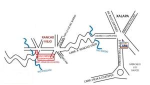 Croquis para llegar a la Casa Comunitaria de la Cuenca del río Pixquiac, Rancho Viejo, municipio de Tlalnelhuayocan, Veracruz, sede de la Jornada del 23 de abril del 2015.